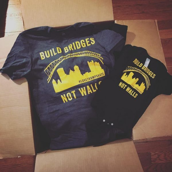BUILD BRIDGES, NOT WALLS // Pittsburgh T-Shirt Design by Meghan Tutolo ©