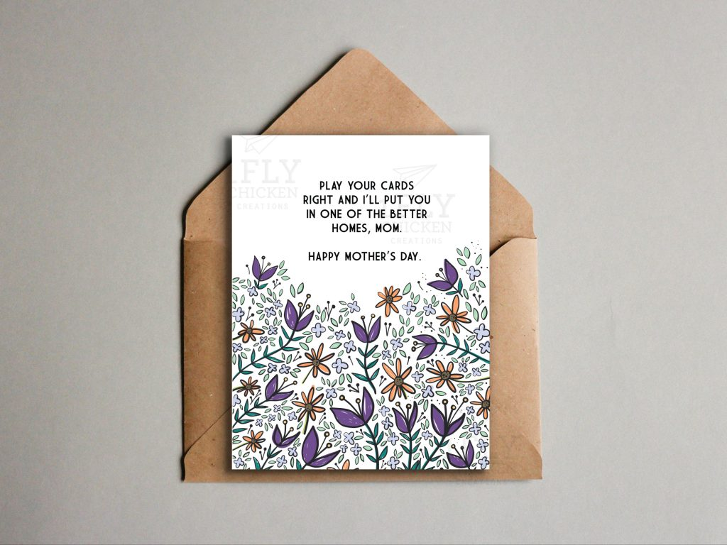 Funny, floral printable Mother's Day card // by 1flychicken creations